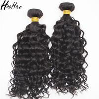 cheveux vierges cambodgien 34 pouces achat en gros de-Haohao Extensions de Cheveux Humains Indiens Brésiliens Indiens Péruviens Cambodgiens de Cheveux Humains Tisse 3 Bundles 8-30 pouces de Vierge Colorable