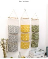 Wholesale New Cotton Linen Wall Hanging Organizer Bag Multi layer Holder Storage Bag Home Decoration Makeup Rack Linen Jewelry Pocket