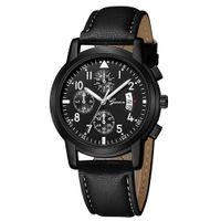 pulseira de couro para homens venda por atacado-Banda de Couro de Luxo dos homens da moda Data Analógico Quartz Business Mens Relógio de Pulso Hodinky Relogio Masculino Pulseira de Diamantes Relógios
