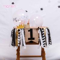золотые украшения из тюля оптовых-Черное золото один баннер первый 1-й день рождения мальчик девочка украшения гирлянда 2-й день рождения ребенка стульчик тюль юбка праздничные атрибуты