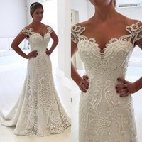 Wholesale Simple Elegant Formal Gowns - 2018 Cheap Wedding Dresses Elegant A Line Sheer Neck Full Lace Applique Cap Sleeves Beaded Trumpet Sweep Train Plus Size Formal Bridal Gowns