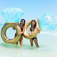 flotteurs gonflables achat en gros de-Anneau de diamant gonflable piscine géante Float anneau de bain gonflable piscine Floatie Boia Piscina diamant adulte fête de mariage Float