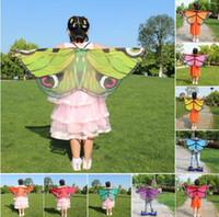 robes de papillon d'enfants achat en gros de-Enfants Fille Princesse Cape Fée Papillon Costume Ailes Monarch En Mousseline De Soie Enfants Fantaisie Cape Robe Cadeau Festival Pixie Cosplay Foulard En Mousseline de Soie