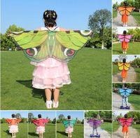 eşarp prensesi toptan satış-Çocuklar Kız Prenses Pelerin Peri Kelebek Kostüm Kanatları Monarch Şifon Çocuk Fantezi Cape Elbise Hediye Festivali Pixie Cosplay Şifon Eşarp