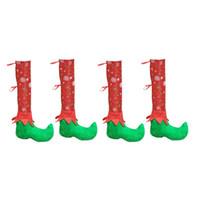 zapatos de los pies de la novedad al por mayor-4 unids Mesa Mesa de Navidad Silla Silla Cubre Elfos Zapatos Pies Piernas Novedad Divertida Cena Decoración de Mesa Decoración de Fiestas Decoraciones Favores