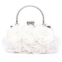 Wholesale white bridal clutches resale online - VSEN Hot Floral Ladies Clutch Bag Women Evening Party Bag Prom Bridal Diamante Baguette White D18110106