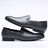 Wholesale women oxford shoes fashion brand - 2017 Fashion Men's Luxury Brand Woven Grain Leather Casual Driving Oxfords Shoes Mens Loafers Man Moccasins Party Flats