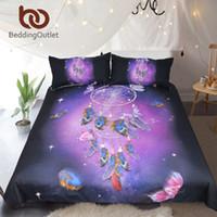 kelebek yorgan kraliçesi toptan satış-BeddingOutlet Dreamcatcher Yatak Seti Kraliçe Romantik Mor Nevresim Rüyası Kelebek Yatak Seti Tüyler Bedclothes 3 adet