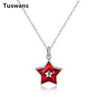 Discount beauty gifts for girls - Christmas Red Enamel Star Pendant Necklace for Women Girl Silver Color Short 45cm Chain Choker Cute Star Jewelry Beauty Gifts