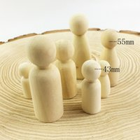 Wholesale Woods Cake - Pinjeas Peg Doll Set Of 40pc Wood Family Doll Toys (43mm  55mm )Unfinished Unpainted Weddings Cake Doll Garden Room Decor Handmade