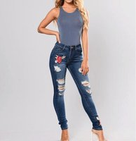 Wholesale skinny jeans washed for women online - Female Embroidered Ripped Jeans Skinny Trousers Long Denim Pants For Women Large Size Bottom Clothing XL