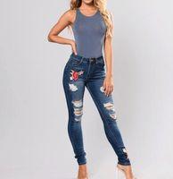 tamaño 26 mujeres jeans ajustados al por mayor-Mujer bordado pantalones vaqueros rasgados flacos pantalones largos Pantalones vaqueros para las mujeres de gran tamaño inferior Ropa 3XL