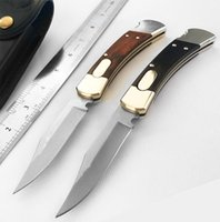 Wholesale excellent quality folding knife resale online - Jason high quality double mode automatic knife yellow black sandalwood handle auto blade brass casting strong spring excellent hunting knife