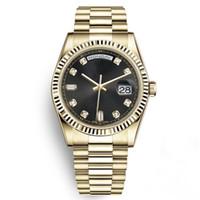 браслет 18k часов оптовых-Часы с лимитированным золотом из нержавеющей стали 18К Дата твердый браслет Сапфир 40мм Человек Daydate Президент Черные наручные часы Спортивные мужские часы