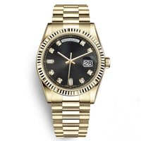 Wholesale watch bracelet president for sale - Group buy Watch With Limited Golden K Stainless Steel Date Solid Bracelet Sapphire mm Man Daydate President Black Wristwatch Sport Mens Watches