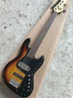 cordes de guitare sans fret achat en gros de-Micros 5 cordes Jazz Bass Basse Sunburst Fretless