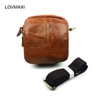 Wholesale men leather waist bag mini for sale - Group buy LOVMAXI Genuine leather cowhide messenger bag small waist bags for men belt waist pack mini male shoulder bag