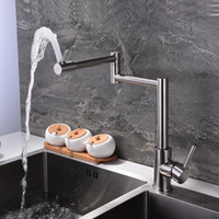 Wholesale cold steel shipping for sale - Group buy SUS304 stainless steel rotate folding extend single handle hot cold water mixer taps kitchen sink faucet