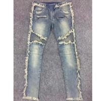 Wholesale Denim Pants Large - Men's Brand tassel Jeans Fashion Designer Men Coating patches hole Ripped Warm Distressed Ripped Skinny Jeans Denim Pants Large size Jeans