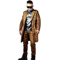 Los hombres de moda Leopardo Casual Slim Fit Traje Chaqueta Larga Chaqueta  Traje de Bailarín Masculino Cantante Hip Hop Traje de la Etapa Ropa 7d8a4ea64ac