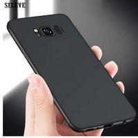 borde ultra delgado samsung s6 al por mayor-SIXEVE Ultra Thin Funda para teléfono celular para Samsung Galaxy S6 S7 S8 S9 Plus S8 Plus Plus S8Plus Duos a prueba de golpes de silicona TPU contraportada