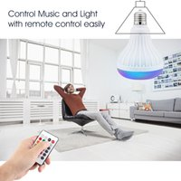 bluetooth luz led inteligente al por mayor-Lámpara LED Bluetooth Altavoz inalámbrico + 12W RGB Bombilla 110V 220V Smart Led Light Music Player Audio con altavoz de control remoto Enlace minorista