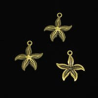 Wholesale wholesale starfish for jewelry making - 92pcs Zinc Alloy Charms Antique Bronze Plated starfish Charms for Jewelry Making DIY Handmade Pendants 25*23mm