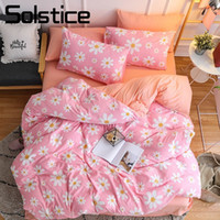 ropa de cama de flores de niña rosa al por mayor-Solstice Home Textile Girl Kid Child Bedding Sets Hot Pink Flower Funda Nórdica Funda de Almohada Sábana Ropa de cama para Adultos Mujer Reina