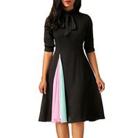 платья для длинных колен оптовых-хорошее качество Женщины Повседневная Dress мода дамы Половина рукава Dress повседневная Fit и Flare O-образным вырезом вечернее платье до колен
