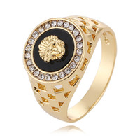 Wholesale new luxury designer rings K Gold Lion head mens rings opening can adjust mens ring jewelry