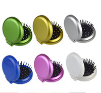 Wholesale Travel Comb Mirror - Girls Portable Mini Folding Comb Airbag Massage Round Travel Hair brush With Mirror Cute Round Hair