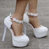 7bd4593710b1fd 14 cm blanc dentelle perlée chaussures de mariage tête ronde plate-forme  imperméable à l'eau de grande taille chaussures de mariage. T977