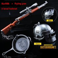 Wholesale Game Helmets - STG Game Playerunknown's Battlegrounds Pans + Kar98k + helmet 3D Weapon Model Beads Chain Pendant Necklace PUBG Logo Keychain jewelry