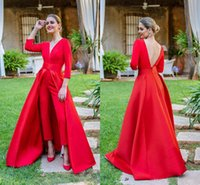 Wholesale pants for maternity for sale - Group buy Red Prom Dresses Jumpsuits Evening Dresses With Long Sleeves Deep V Neck Prom Dresses Pants for Women Custom Made