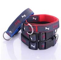 Wholesale choker collars for dogs resale online - Jeans Dog Collar Embroidered Leather Dog Bone Choker Leash For Dogs Necklace Cat Collar for Puppy Little Dog Poodles