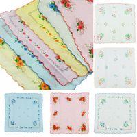 Wholesale Children Hankies - High Quality Premium 12 Pcs 100% Cotton Flower Vintage Handkerchiefs Quadrate Hankies for Women Cute Retro Child Hankies A302a