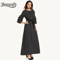 Wholesale Half Sleeves Night Dresses - Benuynffy Layered Flare Sleeve Polka Dot Women Dress Spring 2018 Summer Ladies Casual Work Half Sleeve Maxi Dress with Belt Q779