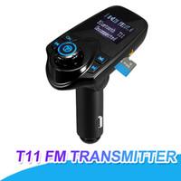 musica universal mp3 al por mayor-T11 Bluetooth Transmisor manos libres Kit de coche con puerto USB Soporte de la tarjeta TF Reproductor de música MP3 con paquete al por menor