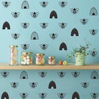 Wholesale quotable wallpapers resale online - French Style Gold Bee Creative Mural Vinyl Decals Honey Beehive Wallpaper Wall Stickers Home Decoration FQ0030