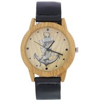 часы-анкерные оптовых-Factory Wholesale Anchor Wooden Wristwatch For Men's Fashion Watch Gifts With Cowhide Leather Watchband Women Casual Wood Watch