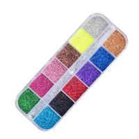 small tool kit оптовых-12 Color Flash  Small Laser  Glitter Nail Manicure Nail Art Crystal Phototherapy kits Suits Make up Tools Beauty