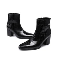 bloco de calcanhar sapatos de couro venda por atacado-Outono Inverno Jacaré Couro De Patente Homem Preto Sapatos Plus Size Botas Hombre Apontou Toe Bloco Tornozelo Botas Dos Homens