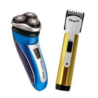 перезаряжаемая бритвенная машина оптовых-pop-up beard sideburn Shaving Trimmer Machine Three Floating Blade Heads Electric Shaver Rechargeable razor for men face care PJ