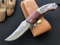 Wholesale damascus abalone folding knife resale online - Wild deer Damascus knife Rosewood Natural abalone handle EDC Folding blade Tactical Gear Collection Knives with leath sheath