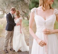 Wholesale elegant country western wedding dresses for sale - Group buy Country Western Boho Wedding Dresses Chiffon A Line Sweetheart Capped Sleeve Pleated Lace Beading Romantic Bohemian Wedding Gowns Elegant