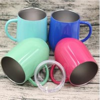 Wholesale Powder Coats - 9oz Egg Cup Wine Glass With Handle Stainless Steel Powder Coated Fashion Egg Shaped Wine Glasses Travel Beer Mugs CCA8905 12pcs