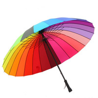 Wholesale high fashion umbrella - High Quality 24k Color Rainbow Fashion Long Handle Straight Sun Rain Stick Umbrella Free Shipping
