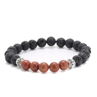 Wholesale sterling silver chains bracelet mens - Volcanic stone bracelets weathering agate stone matte yoga set Buddha Beads Bracelet mens Bracelets Ethnic Tiger Eye Stone womens Jewelry