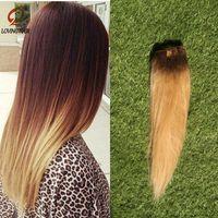 Wholesale ombre brazilian clip hair extensions resale online - Ombre Human Hair Clip In Human Hair Extensions Set brazilian clip in extensions