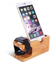 aufladung telefonständer großhandel-Neueste Ladeplattform für Apple Watch Stand Station für Apple Watch für iPhone Bamboo Holz Handyhalter Stand LLFA